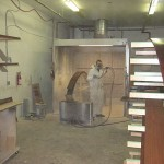Spraying desk veneer