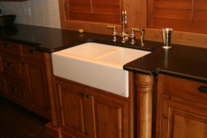Kitchen sink with wood surrounds